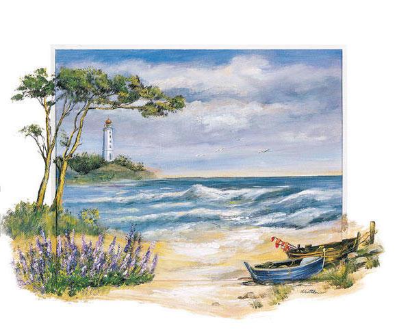 Морской пейзаж, акварель