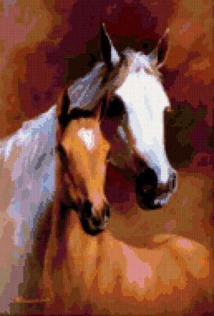 Белая лошадь с жеребенком,