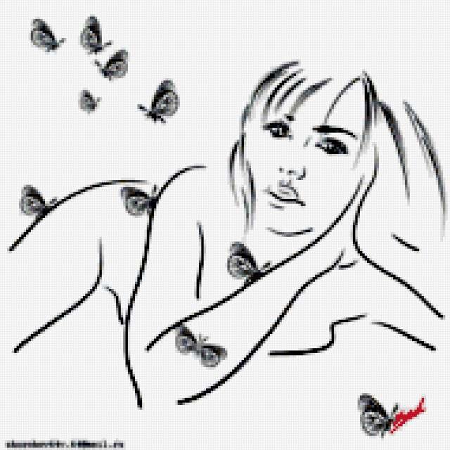 Девушка и бабочки, графика,