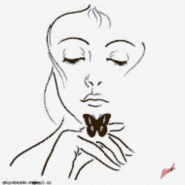 Девушка с бабочкой, девушка,