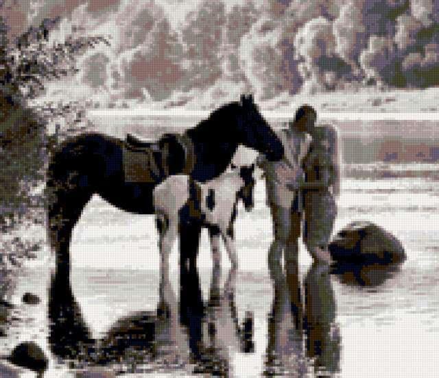 Влюблённые и кони на водопое,