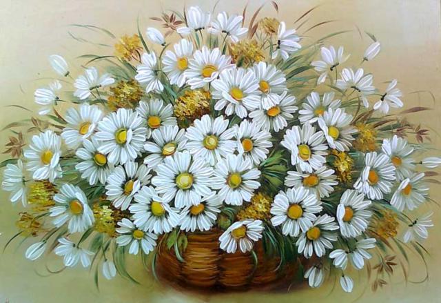 Корзина ромашек, flowers