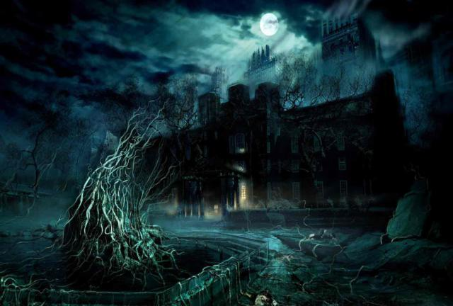 Заброшеный замок под луной,
