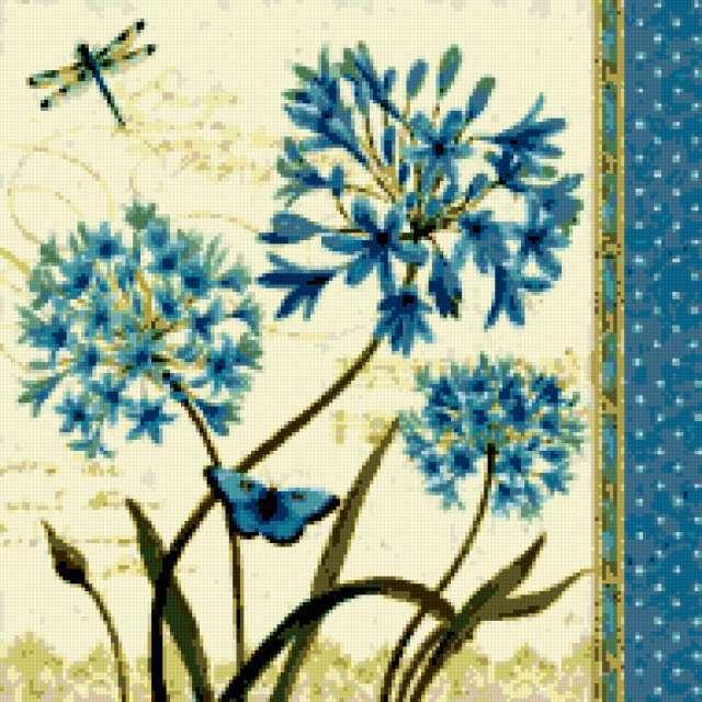 Винтажные синие цветы