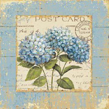 Винтажные синие цветы, подушка