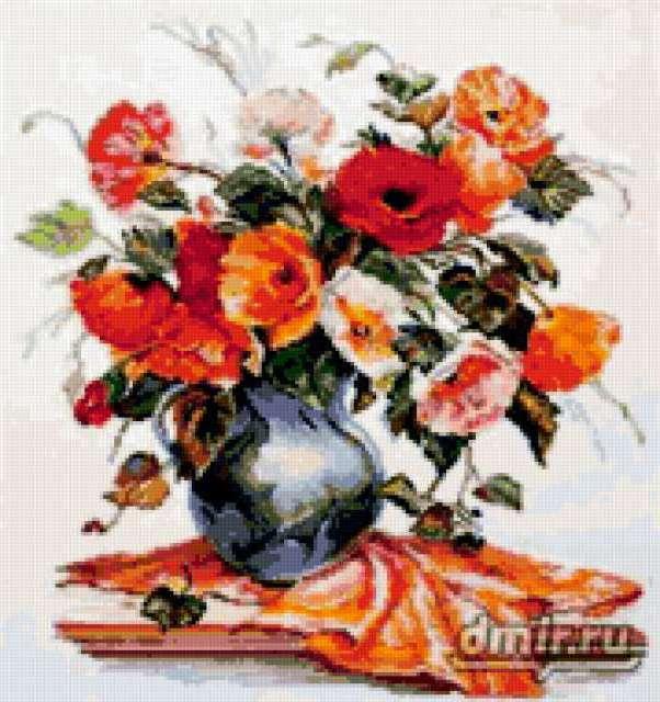 Маки в вазе, маки, цветы, ваза