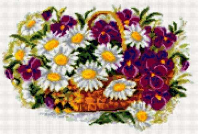 Цветы в корзине, цветы, букет,