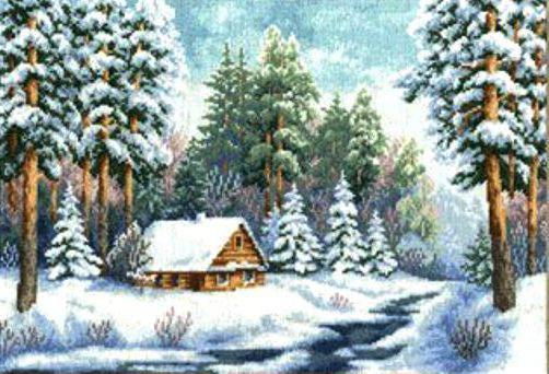 Вышивка домик в лесу