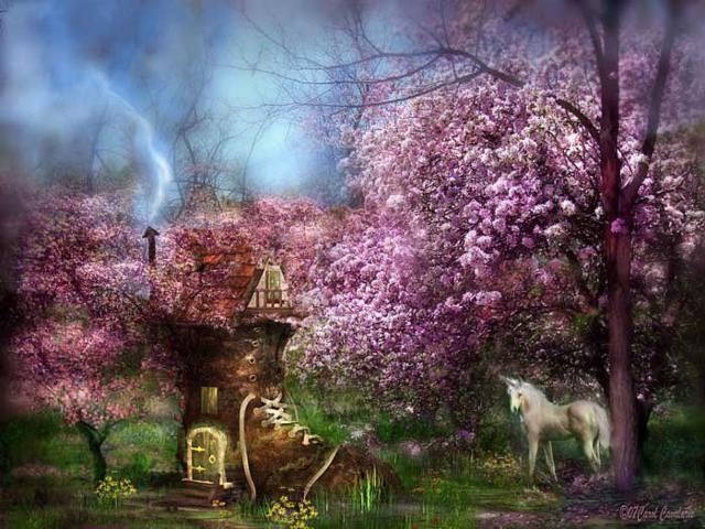 Единорог , пейзаж, живопись