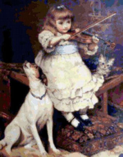 Барышня-скрипачка и пёсик,