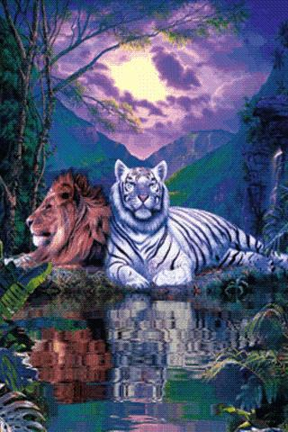 Лев и тигр, оригинал