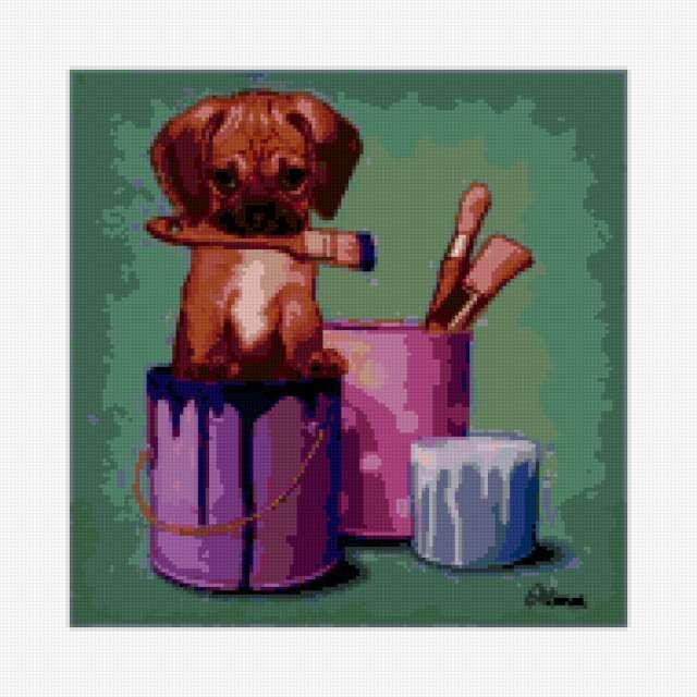 Щенок, портрет, собака, краски