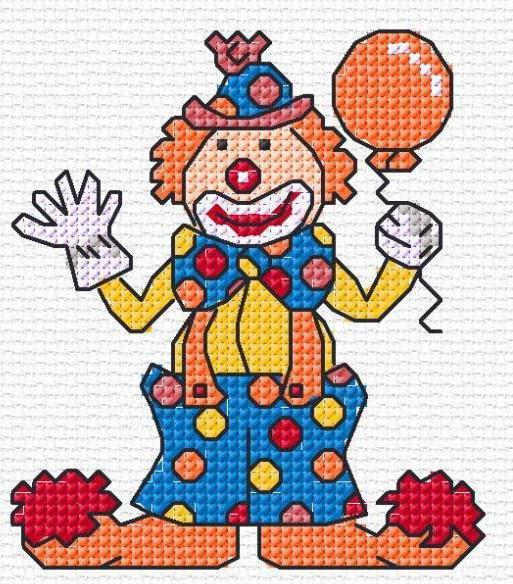 """Мини-вышивка """"Клоун"""", оригинал"""