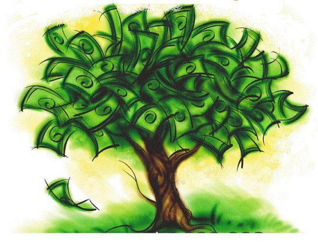 Дерево, деньги, подарок,