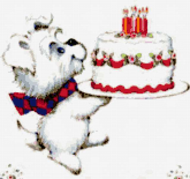 Собачка и тортик, собака,