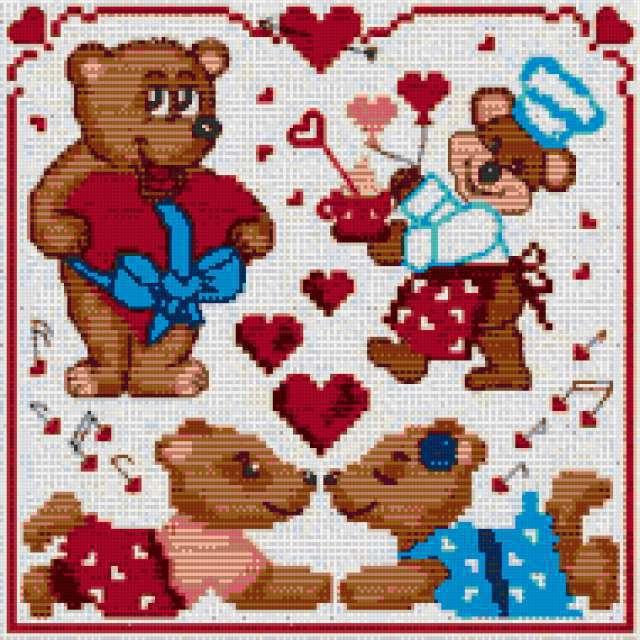 "Мини-вышивки ""Медвежата"""