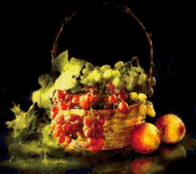 Корзина винограда и персики,