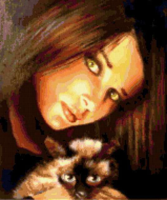 Девушка с кошкой, предпросмотр