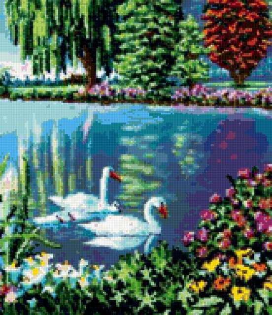 Лесное озеро с лебедями,