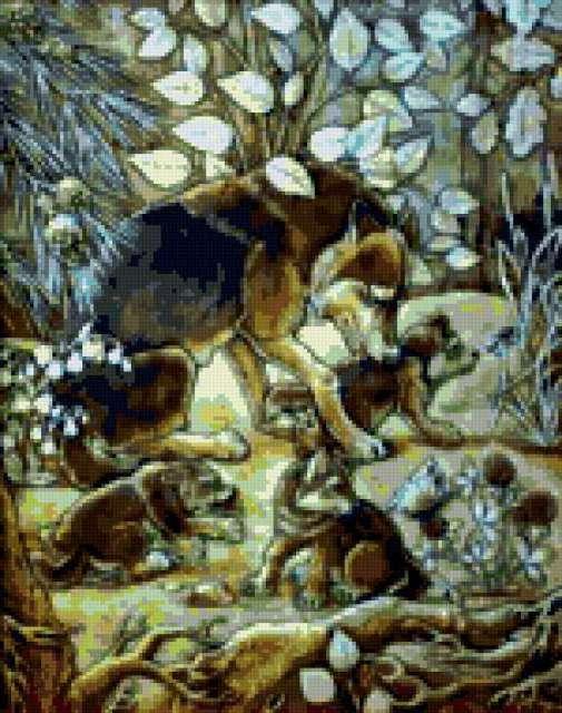 Волчица с волчатами на полянке
