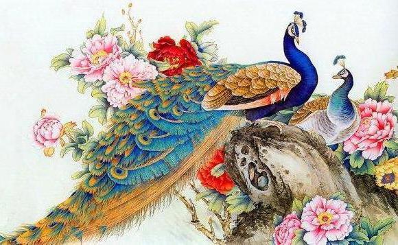 Павлины. Живопись Китая.
