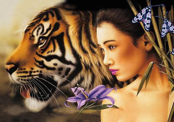 Девушка и тигр 4, оригинал