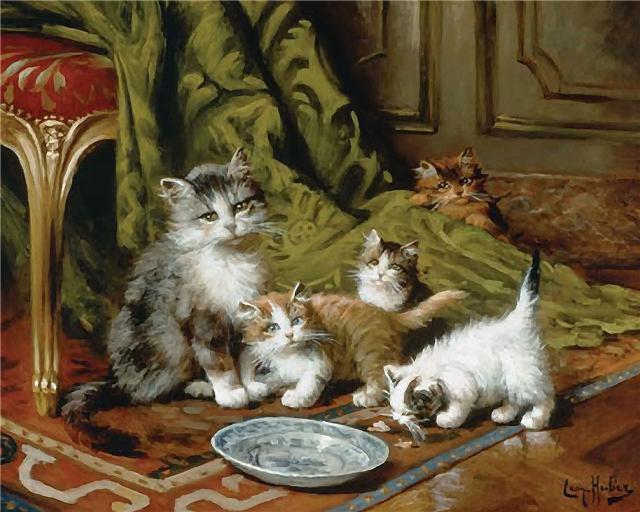 Кошка с котятами, оригинал