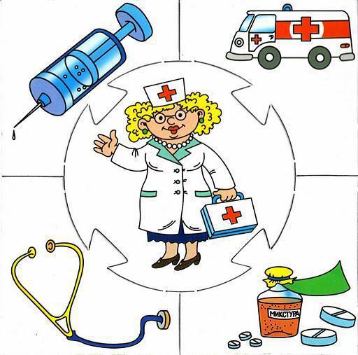 Детям-профессии, подушка, врач