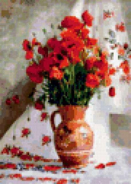 Натюрморт, маки, рушник, ваза