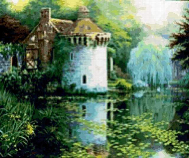 Старинный замок у воды,