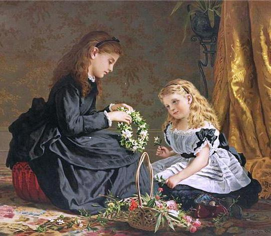 Плетение венков, дети, ангел,