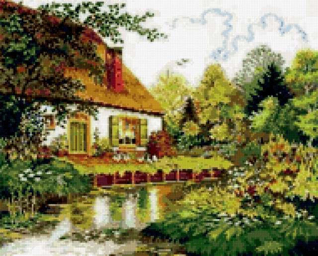 Вышивка сельский домик