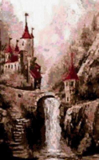 Старинный замок у водопада,