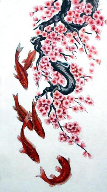 Сакура и рыбки, оригинал