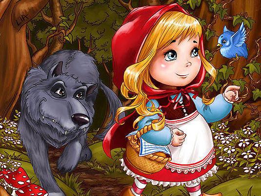 Красная шапочка и серый волк,