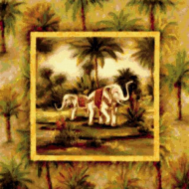 Индия.Слоны, пейзаж, живопись,