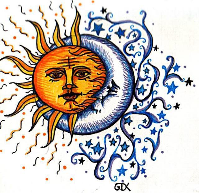 Схема вышивки «Солнце и луна»