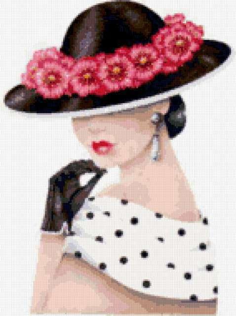 Дама в шляпе с цветами,