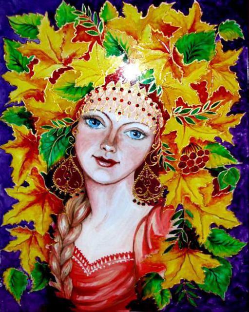 Осень, женщина, красавица