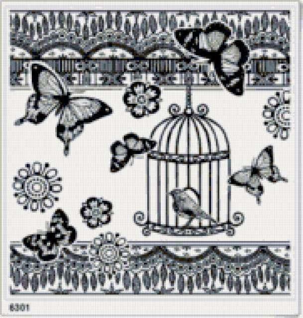 бабочки, птица, клетка,