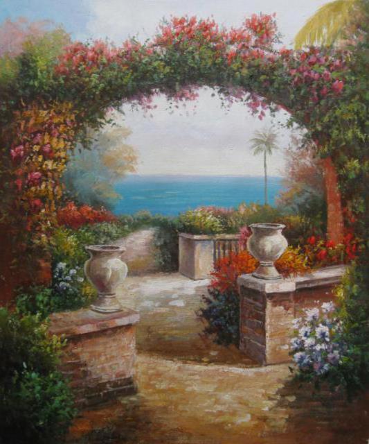 Арка, арка, цветы, пейзаж,