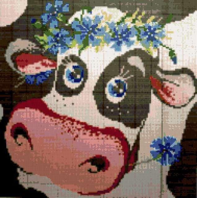 Корова с васильками