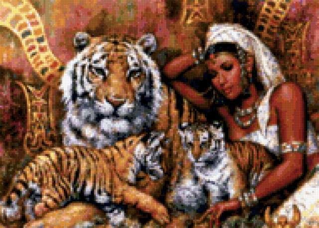 Карл Банг Девушка с тиграми,