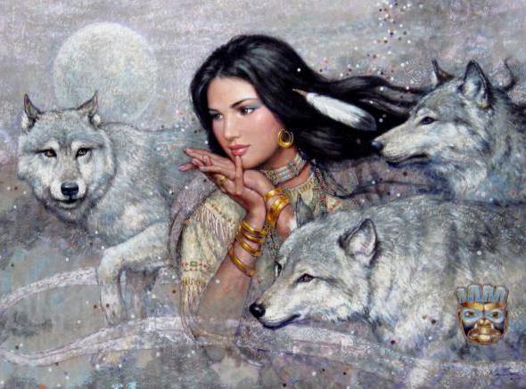 Карл Банг Девушка с волками,