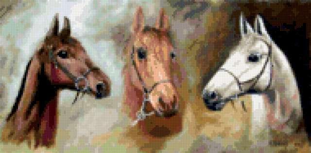 Тройка лошадей, животные