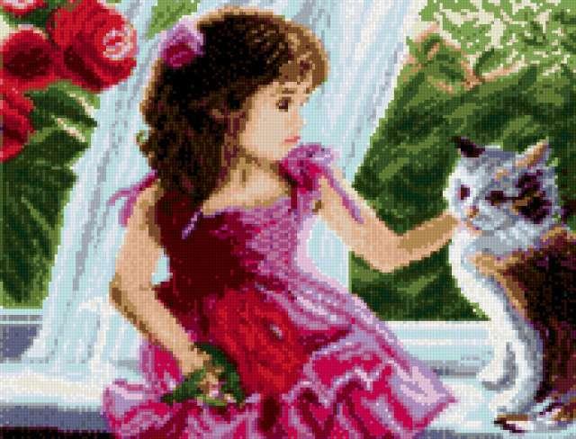 Девочка с котенком.