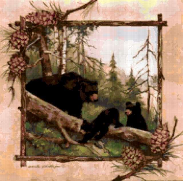 Три медведя, картина, медведь,