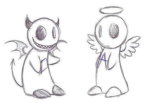 ангел, демон, рисунок