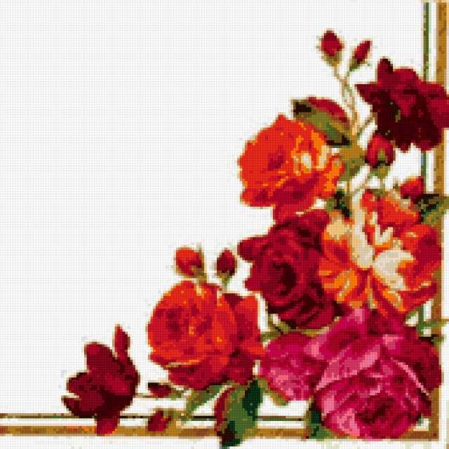 Уголок для салфетки, розы,