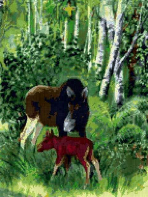 Лось и лосёнок, предпросмотр